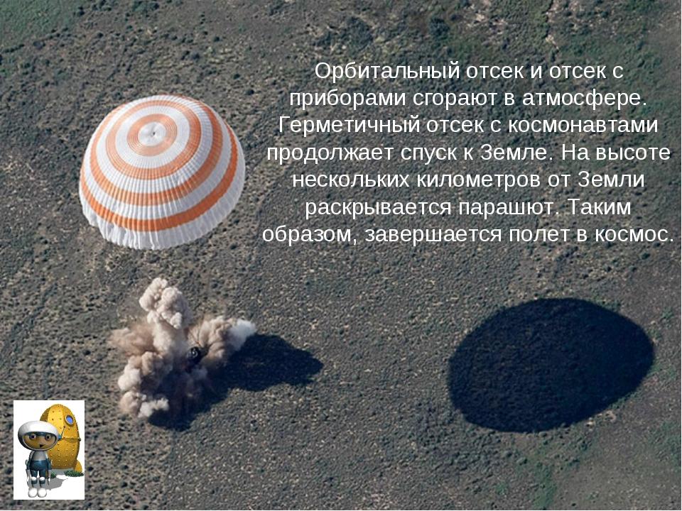 Орбитальный отсек и отсек с приборами сгорают в атмосфере. Герметичный отсек...