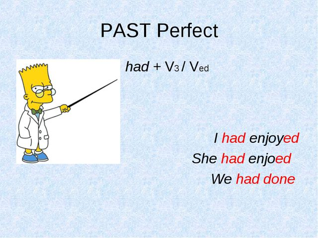 PAST Perfect had + V3 / Ved I had enjoyed She had enjoed We had done