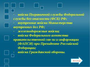 войска Пограничной службы Федеральной службы безопасности (ФСБ) РФ; внутренн