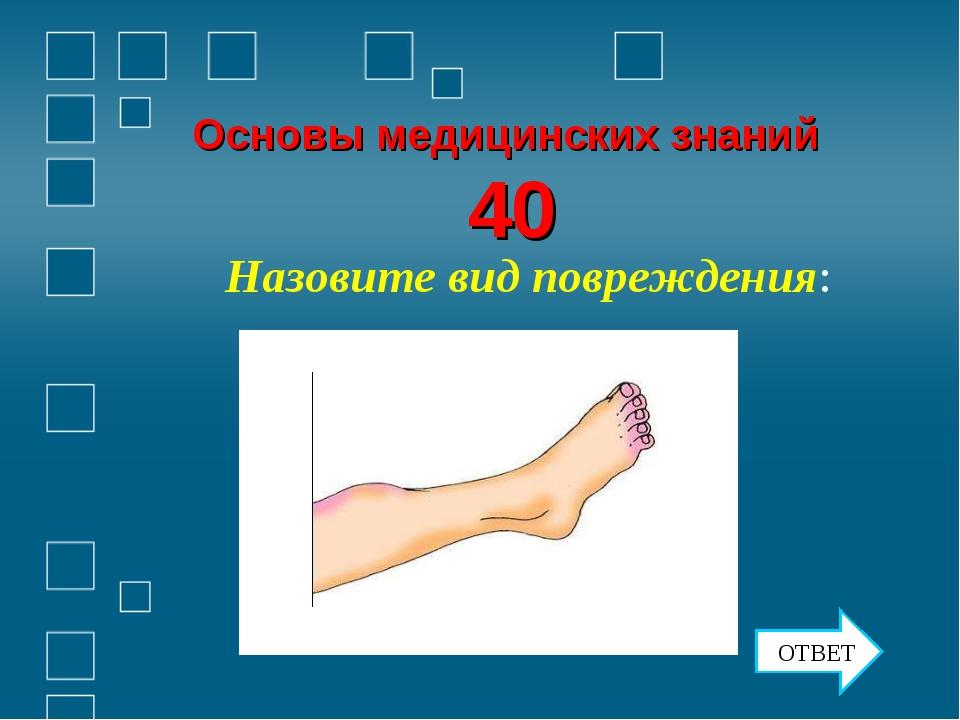 Основы медицинских знаний 40 Назовите вид повреждения: