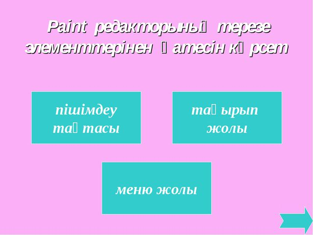 Paint редакторының терезе элементтерінен қатесін көрсет пішімдеу тақтасы тақы...