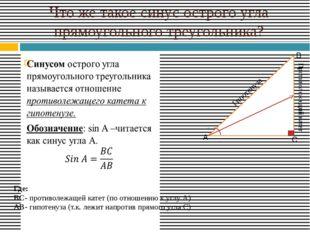 Что же такое синус острого угла прямоугольного треугольника? Противолежащий к