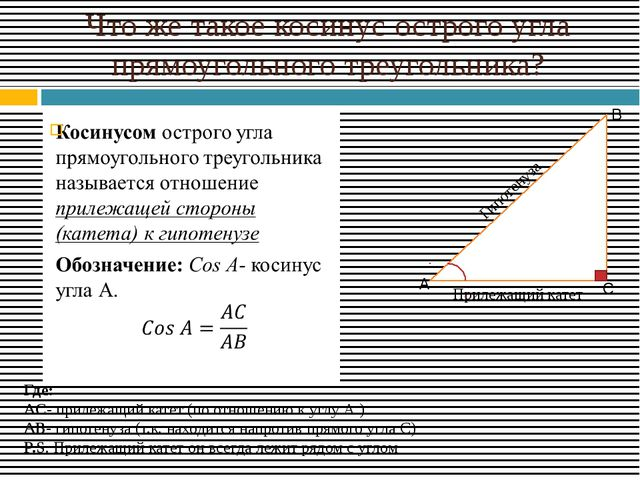 Что же такое косинус острого угла прямоугольного треугольника? Прилежащий кат...