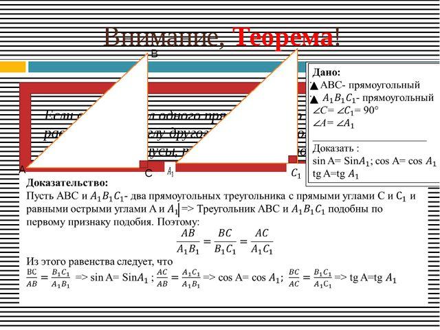 Внимание, Теорема! Если острый угол одного прямоугольного треугольника равен...