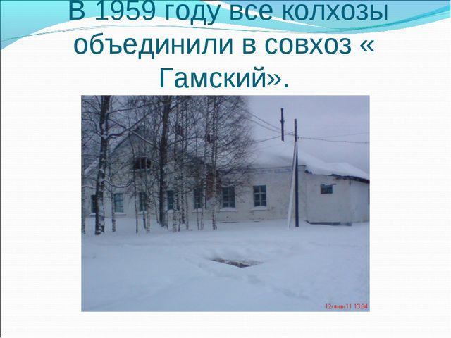 В 1959 году все колхозы объединили в совхоз « Гамский».