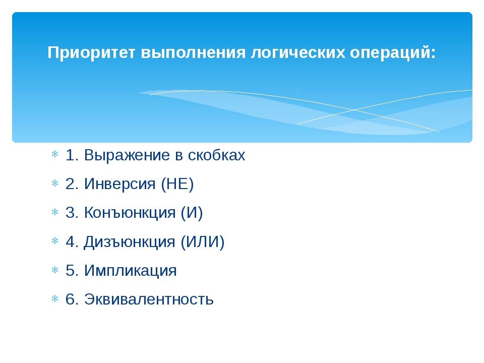 1. Выражение в скобках 2. Инверсия (НЕ) 3. Конъюнкция (И) 4. Дизъюнкция (ИЛ...