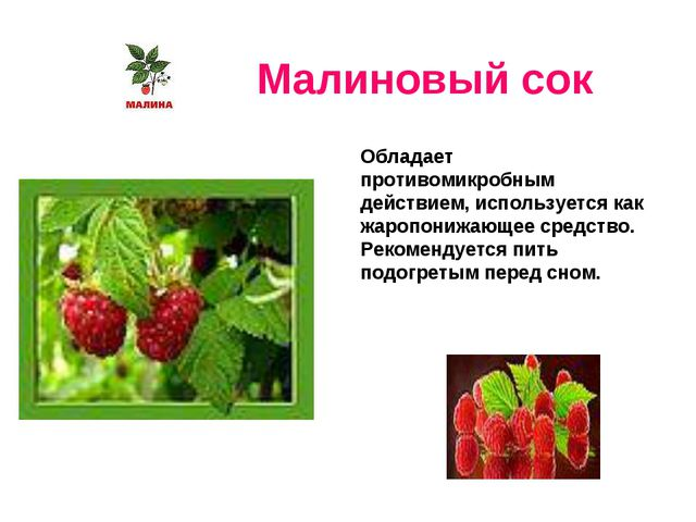 Малиновый сок Обладает противомикробным действием, используется как жаропониж...