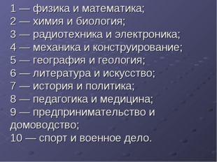 1 — физика и математика; 2 — химия и биология; 3 — радиотехника и электроник