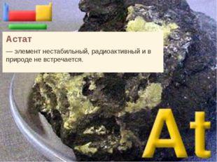 Астат — элемент нестабильный, радиоактивный и в природе не встречается.