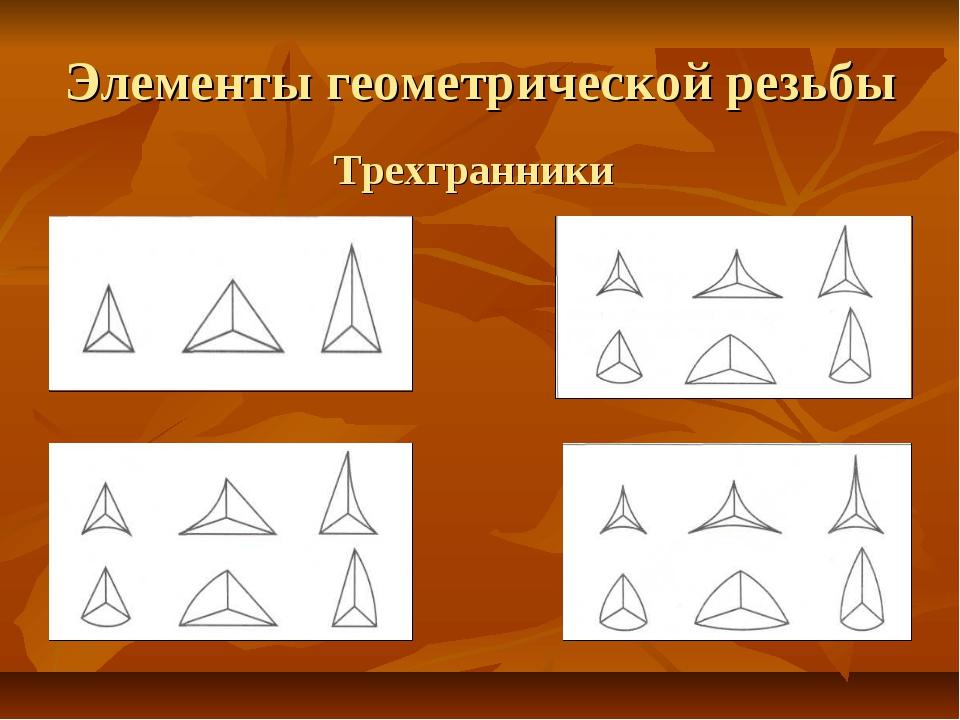 Элементы геометрической резьбы Трехгранники