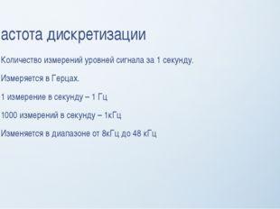 Частота дискретизации Количество измерений уровней сигнала за 1 секунду. Изме