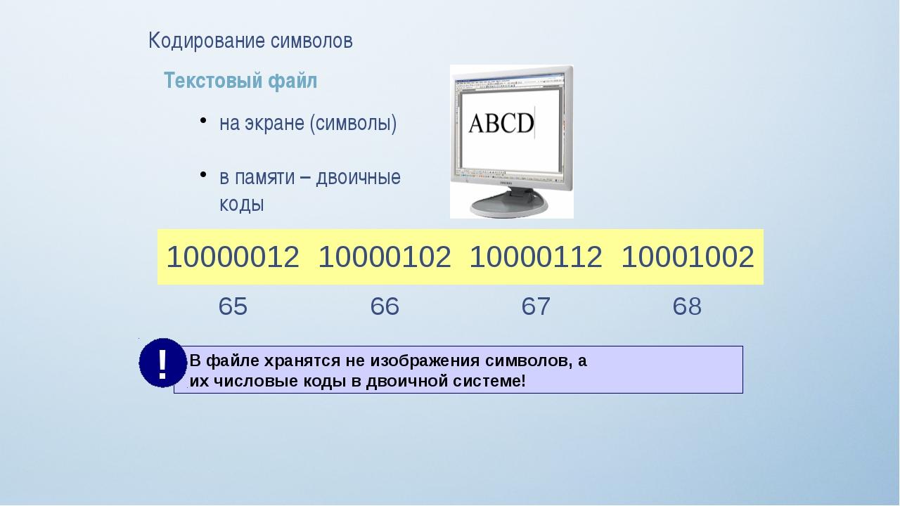 Кодирование символов Текстовый файл на экране (символы) в памяти – двоичные к...
