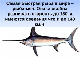 Самая быстрая рыба в мире – рыба-меч. Она способна развивать скорость до 130,
