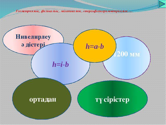 Геометриялық, физикалық, механикалық, стереофотограмметриялық..... Нивелирле...