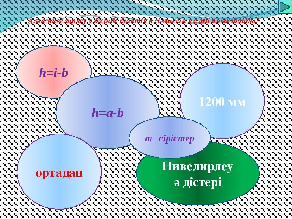 Алға нивелирлеу әдісінде биіктік өсімшесін қалай анықтайды? h=i-b h=a-b Ниве...