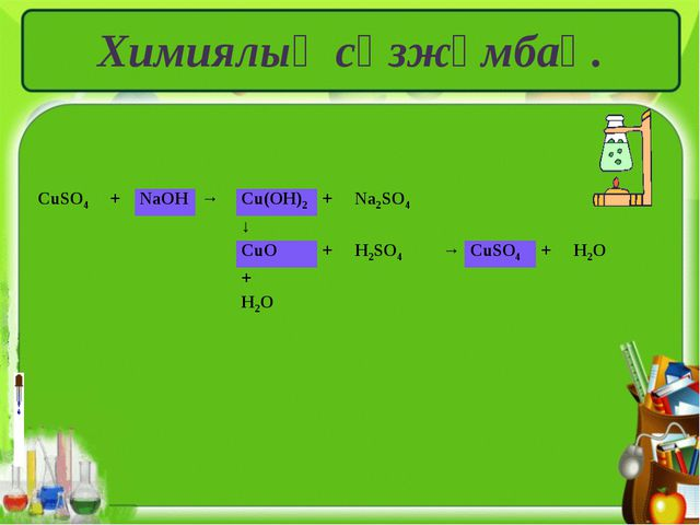 Химиялық сөзжұмбақ. CuSO4+NaOH→Cu(OH)2+Na2SO4 ↓ CuO+H2SO4→Cu...