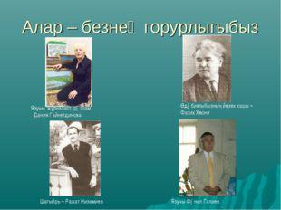 Алар – безнең горурлыгыбыз Шагыйрь – Рашат Низамиев Язучы. журналист, рəссам