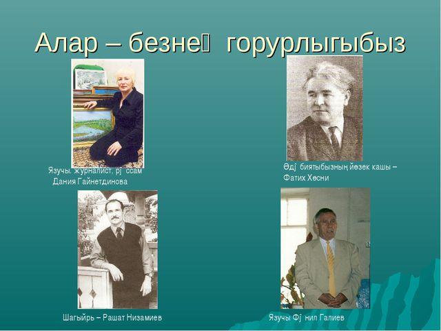 Алар – безнең горурлыгыбыз Шагыйрь – Рашат Низамиев Язучы. журналист, рəссам...