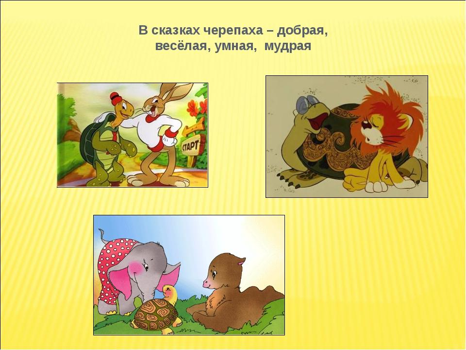 В сказках черепаха – добрая, весёлая, умная, мудрая