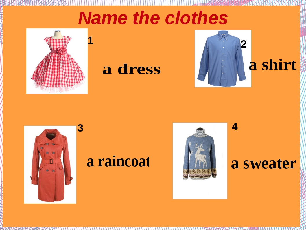 Name the clothes 2 3 4 1