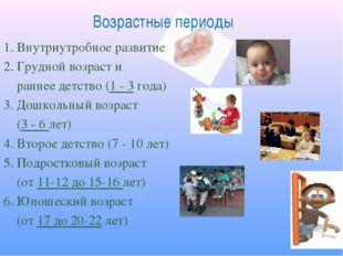 Возрастные периоды 1. Внутриутробное развитие 2. Грудной возраст и раннее дет