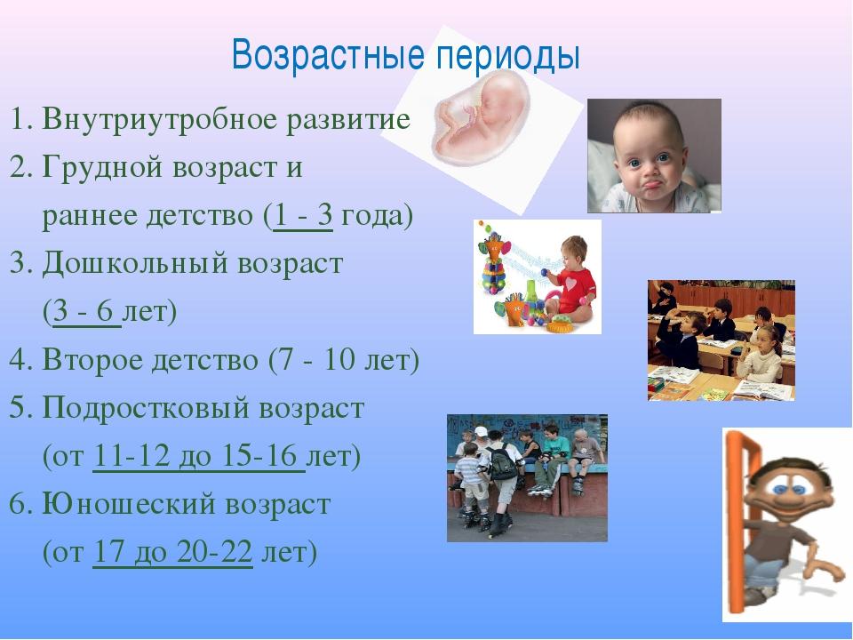 Возрастные периоды 1. Внутриутробное развитие 2. Грудной возраст и раннее дет...