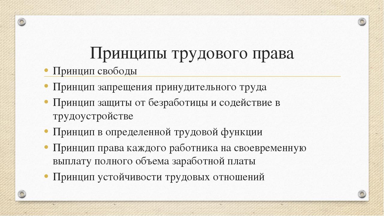 Принципы трудового права Принцип свободы Принцип запрещения принудительного т...