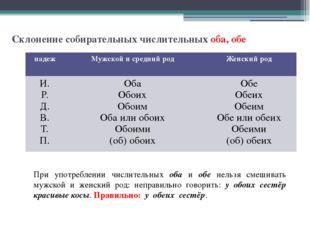 Склонение собирательных числительных оба, обе При употреблении числительных о