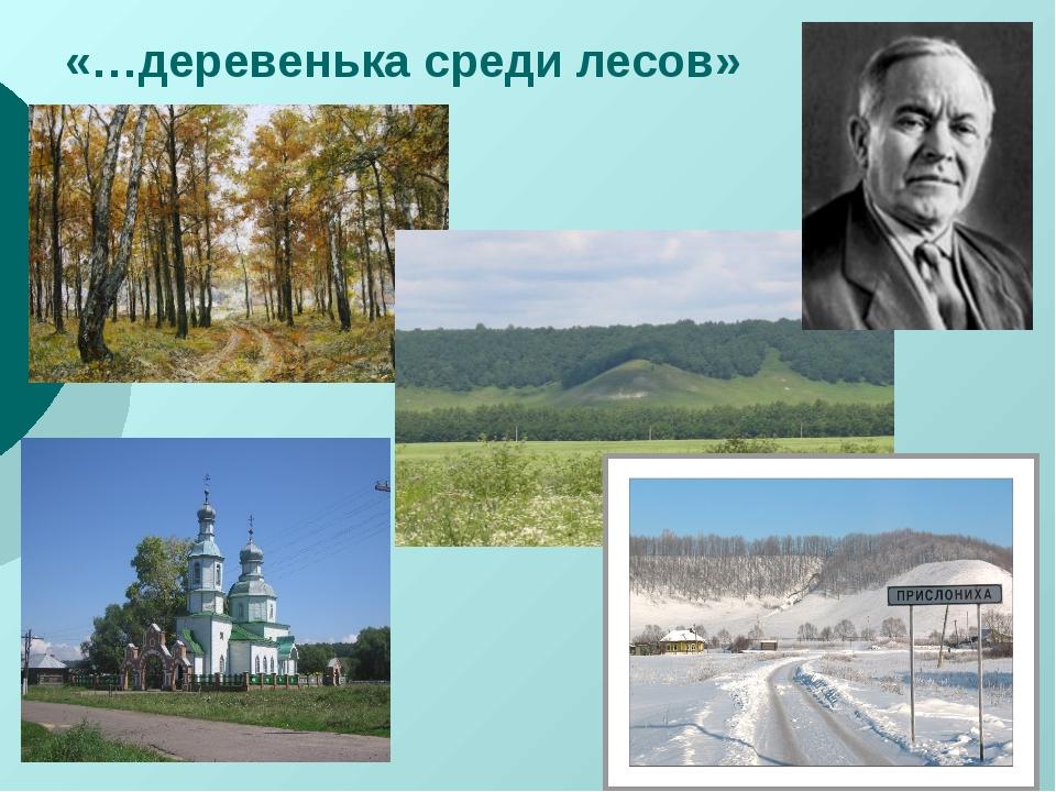 «…деревенька среди лесов»