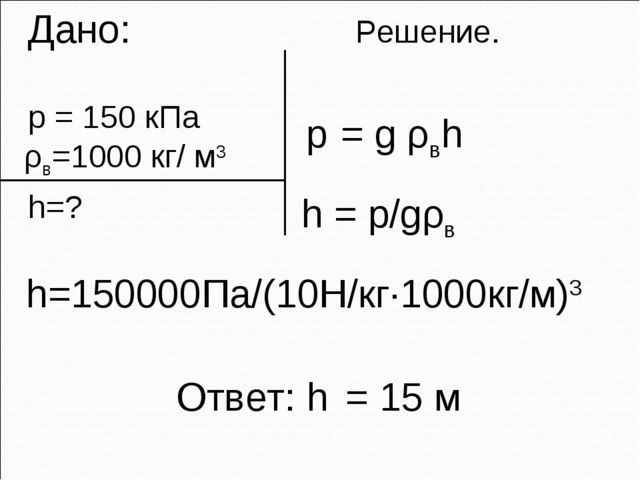 Дано: Решение. p = 150 кПа ρв=1000 кг/ м3 h=? p = g ρвh Ответ: h = 15 м h =...