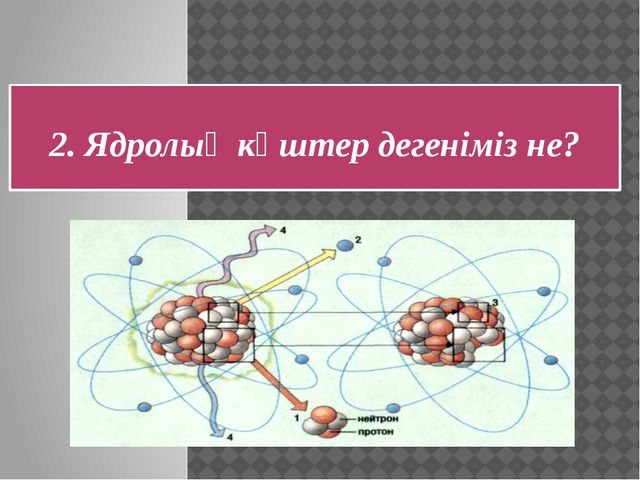 2. Ядролық күштер дегеніміз не? Ядрода протон мен нейтронды ұстап тұратын кү...