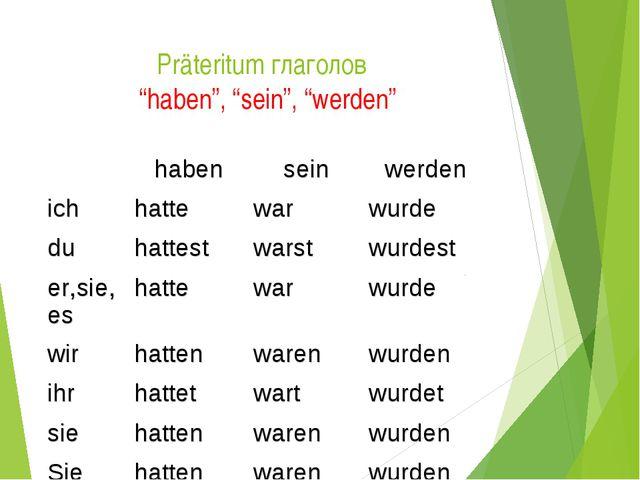 """Präteritum глаголов """"haben"""", """"sein"""", """"werden"""" habenseinwerden ichhattewa..."""