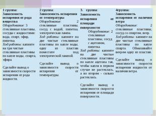 1 группа: Зависимость испарения от рода вещества Оборудование:3 стеклянные пл
