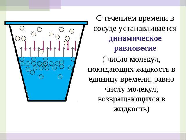 С течением времени в сосуде устанавливается динамическое равновесие ( число м...