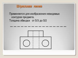Штриховая линия Применяется для изображения невидимых контуров предмета. Толщ