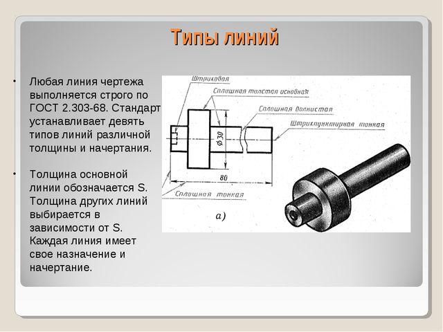 Типы линий Любая линия чертежа выполняется строго по ГОСТ 2.303-68. Стандарт...