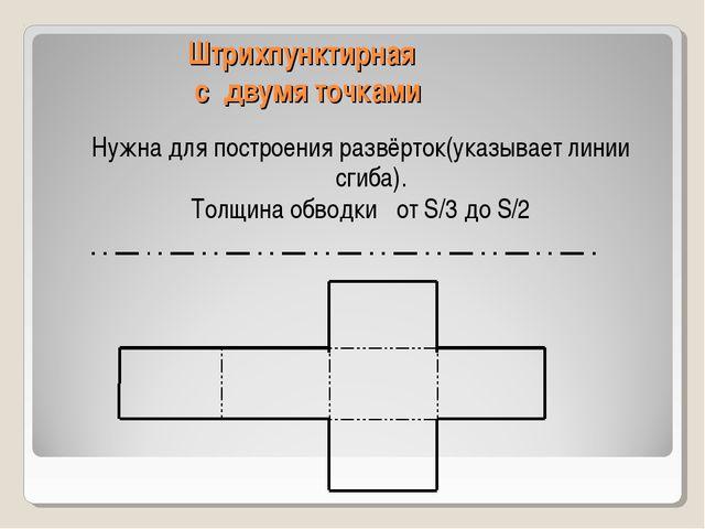 Штрихпунктирная с двумя точками Нужна для построения развёрток(указывает лини...