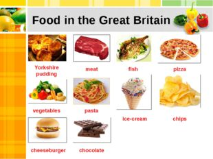 Food in the Great Britain Yorkshire pudding meat fish pizza vegetables pasta