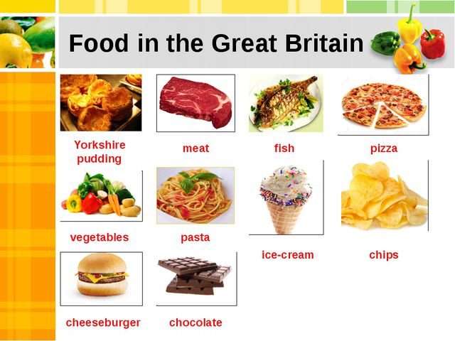 Food in the Great Britain Yorkshire pudding meat fish pizza vegetables pasta...