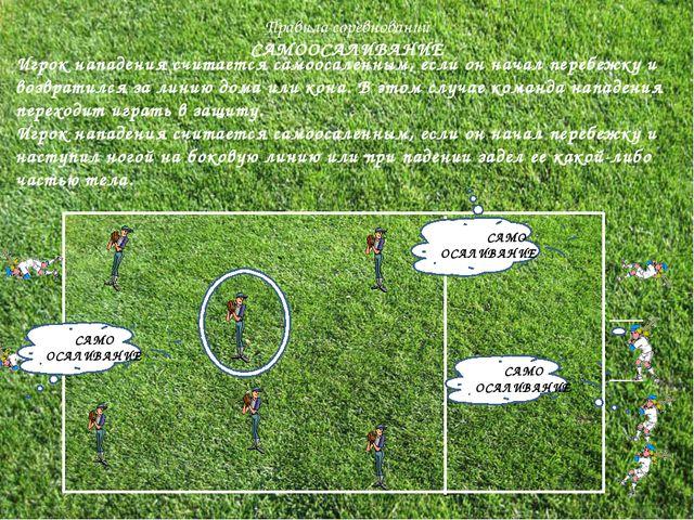 Правила соревнований САМООСАЛИВАНИЕ Игрок нападения считается самоосаленным,...