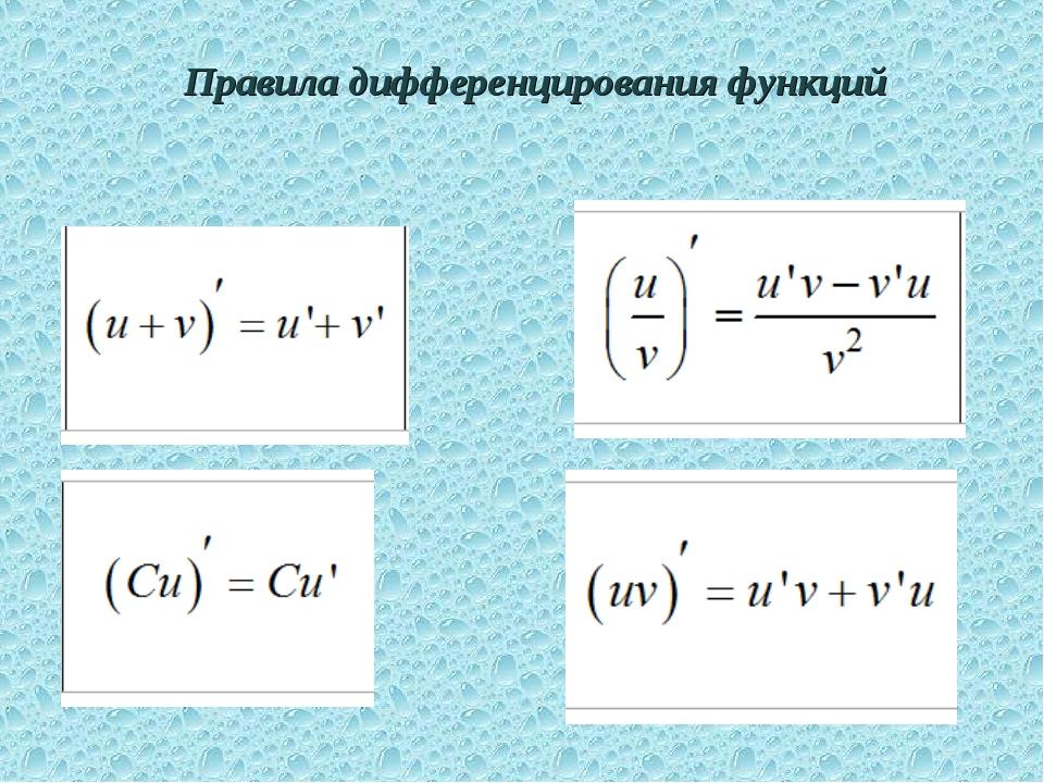 Правила дифференцирования функций