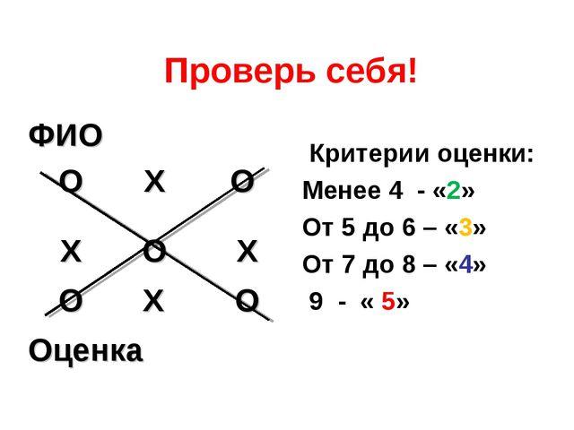 Проверь себя! Критерии оценки: Менее 4 - «2» От 5 до 6 – «3» От 7 до 8 – «4»...