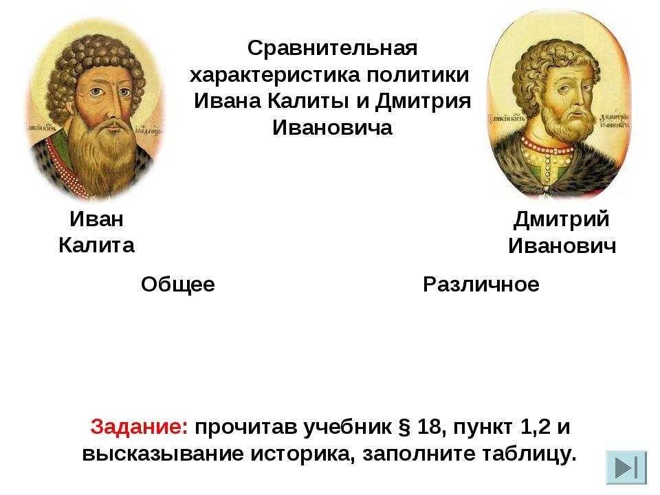 Сравнительная характеристика политики Ивана Калиты и Дмитрия Ивановича Иван К...