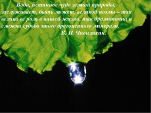 Вода, истинное чудо земной природы, заслуживает, быть может, великой поэмы