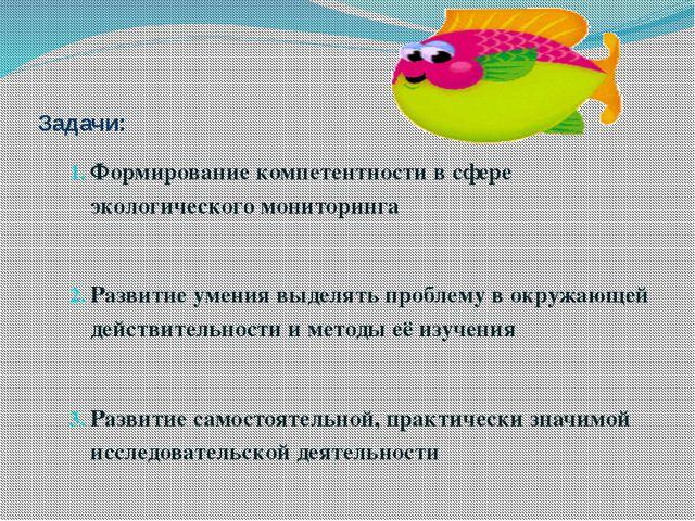 Задачи: Формирование компетентности в сфере экологического мониторинга Разви...