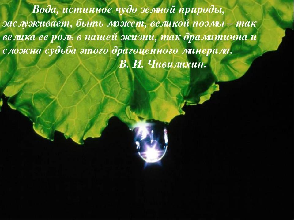 Вода, истинное чудо земной природы, заслуживает, быть может, великой поэмы...