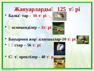 Жануарлардың 125 түрі Балықтар - 16 түрі Қосмекенділер – 3түрі Бауырмен жорға