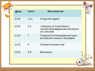 Дата Класс Мероприятия 10.02 2-11 Открытие недели 10.02 2-4 «Welcome to Grea