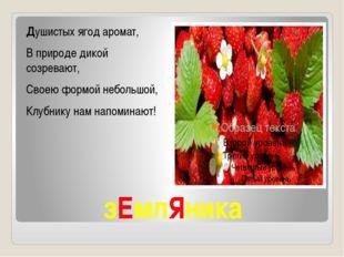 зЕмлЯника Душистых ягод аромат, В природе дикой созревают, Своею формой небол