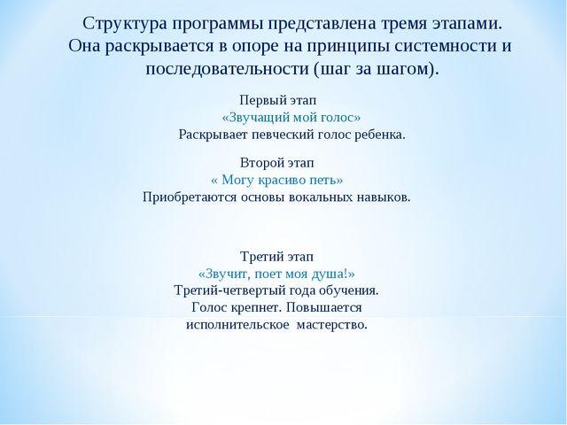 Структура программы представлена тремя этапами. Она раскрывается в опоре на п...